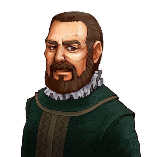 """<strong class=""""em """">アントニオ・ゴメス</strong> かつて名声をはせた提督。経験豊富だが災難に巻き込まれやすい。勇敢でプライドが高い"""