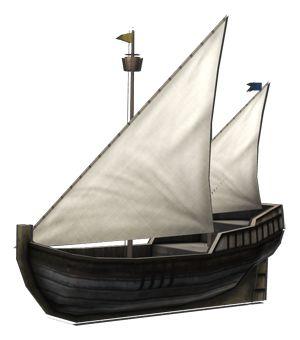 """<strong class=""""em """">カラベル・ワーレス</strong> 「探検船」3角帆を利用することで速度アップをはかったカラベルタイプの小型探険船。安価なため近距離の航海に適している"""