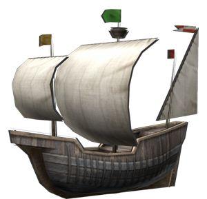 """<strong class=""""em """">キャラック・ルシア</strong> 「探検船」3角帆と4角帆を組み合わせることで長距離航海を目指したキャラックタイプの探険船。小回りがきかず低速である"""