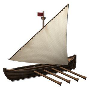 "<strong class=""em "">ガレー・エスピーダ</strong> 「探検船」多くのオールでこいで進む海上の戦闘向きの探険船。敵船に突っ込み、穴を開けて攻撃を行なう"