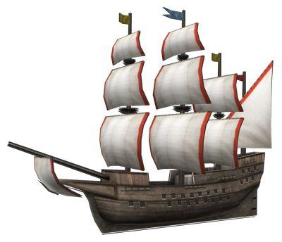 """<strong class=""""em """">ガレオン・ダウレス</strong> 「貿易船」カラベル船とキャラック船の特徴を兼ね備えた遠距離貿易船。武装もなされ、安定した貿易収入が期待できる"""