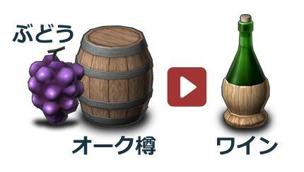 「ぶどう」と「オーク樽」から「ワイン」