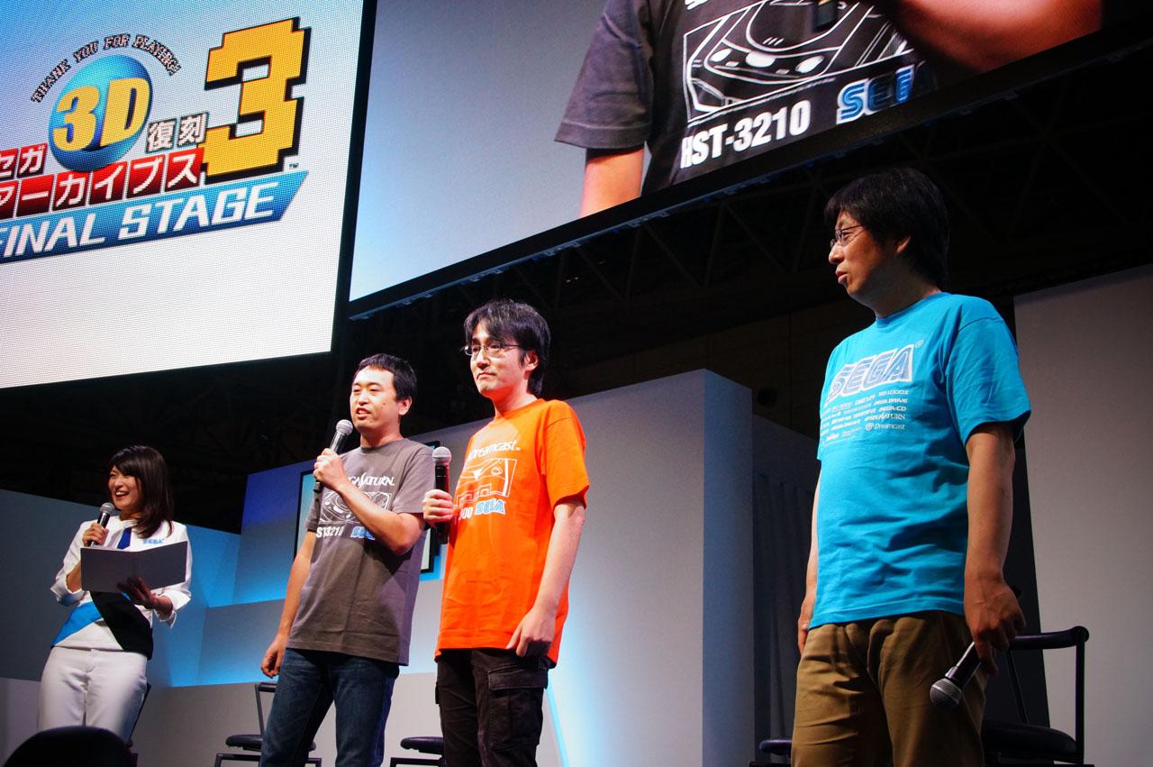 「セガ3D復刻アーカイブス3 FINAL STAGE」のステージイベントで新情報を公開! ステージにはエムツーの堀井直樹氏(写真右)、リードプロデューサーの下村一誠氏(写真中央)、シリーズプロデューサー奥成洋輔氏(写真左)が登場した