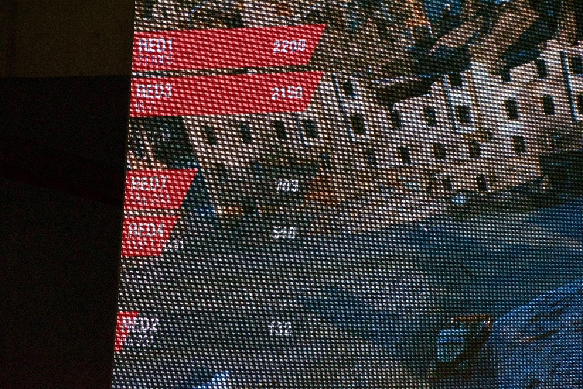 終盤の状態。赤のGALLERIAチームは機動力のあるプレーヤーが先に狩られて眼を奪われた状況に対し、青のWargaming Allianceに至っては軽戦車だけが落ちた状態