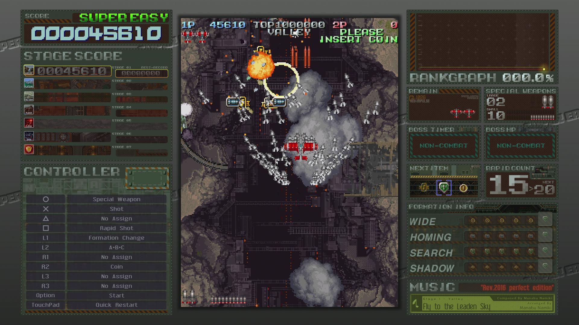 「スーパーイージーモード」プレイ中の画面。右上のランクグラフは0のまま進んでいく