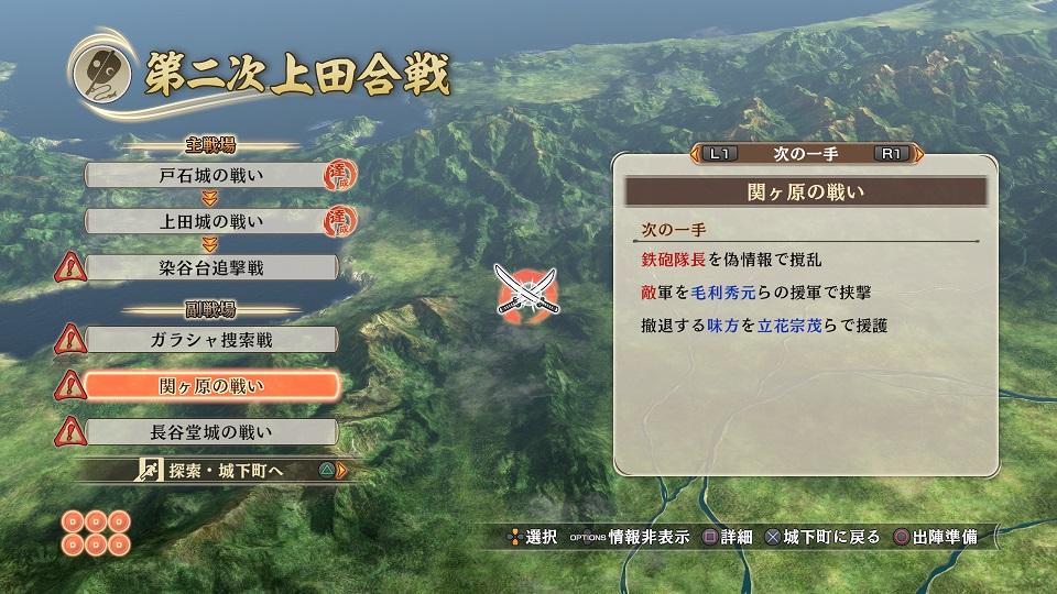 真田家以外の武将が主役となる合戦を「副戦場」として設定。そこでは、石田三成や大谷吉継のような既存の無双武将でプレイする。本作では「関ケ原の戦い」も副戦場の1つとして描かれる。メインストーリーでは同時期に「上田城の戦い」や「染谷台襲撃戦」をプレイする