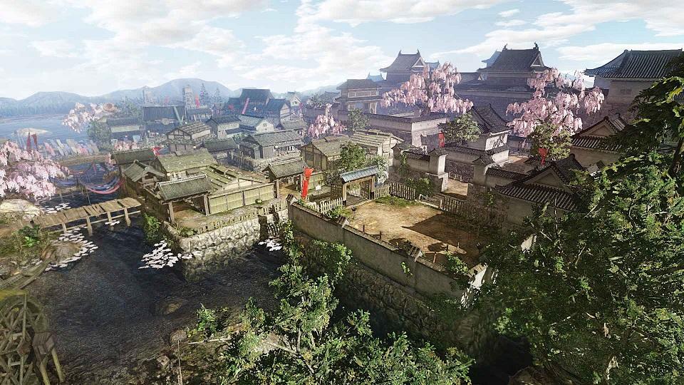 上田城城下町の全体図。本作の物語は時代に応じた「城下町」を起点として進行する。城下町は「真田本城」から始まり、物語の進行に応じて増えていく。さらに、町の変遷に従ってイベントが発生したり、新たな施設も登場する