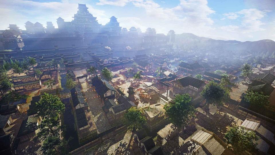 本作に登場する城下町の中では最大の規模を誇る大坂城城下町の全体図。城下町で無双武将や町人と交流する中で、様々な「お役目」が発生することも