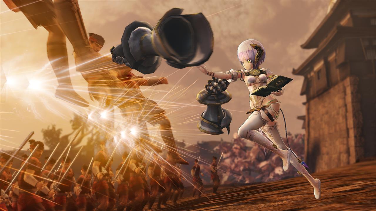 「駆動機兵」によって敵を攻撃するプラフタ。プラフタは錬金術で作られた駆動機兵と呼ばれる道具を使って敵と戦う。プラフタ自身は錬金術を使えないが、錬金術で生成されたものを使いこなすことには長けている