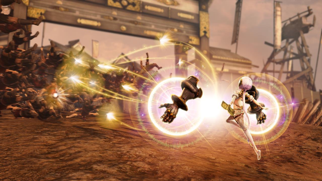 上空から光が降り注ぐ攻撃「レインシュート」を放つプラフタ。駆動機兵による直接攻撃のほかにも、魔法のような技も使いこなす