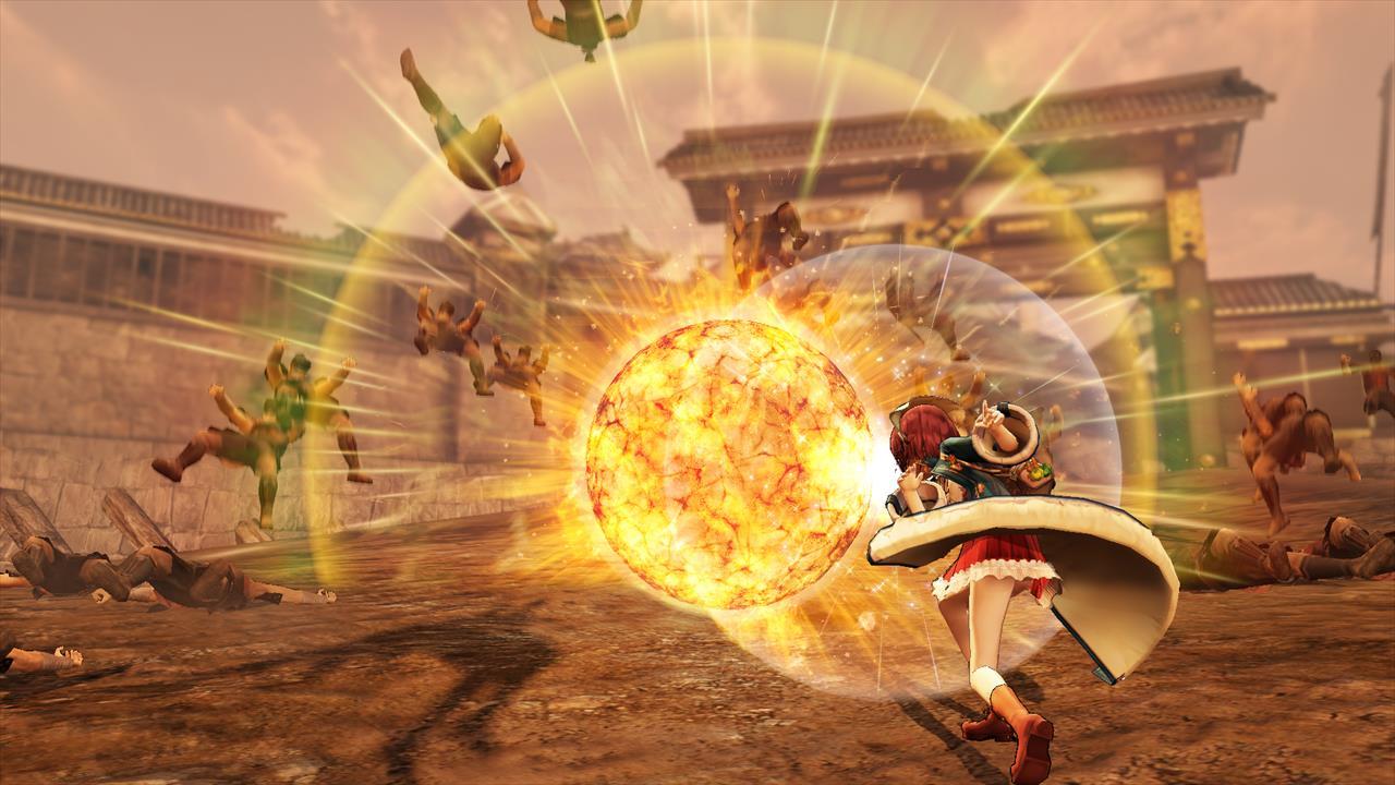 お馴染みの爆弾「フラム」をいくつも投げて爆発させるソフィー。ソフィーは錬金術で生成したアイテムを用いたド派手なアクションで、敵を一網打尽にできる