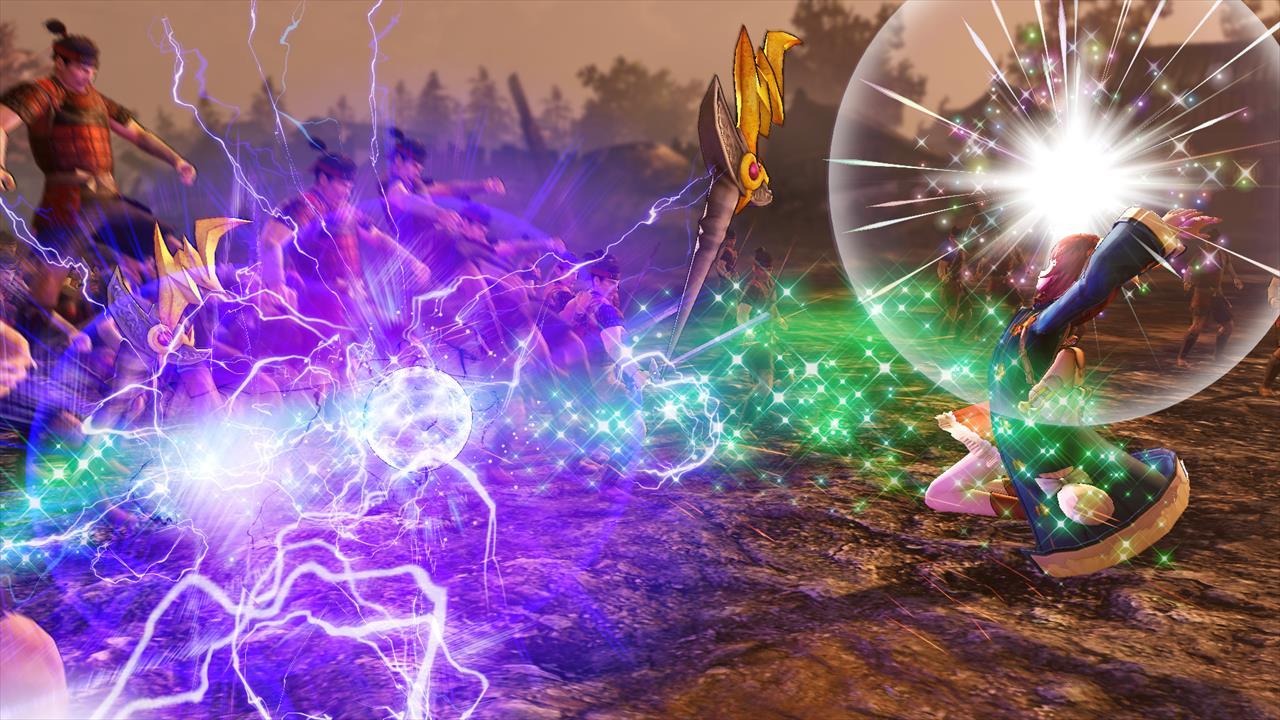 雷の力を帯びた石「ドナーストーン」を使用して、雷を発生させるソフィー
