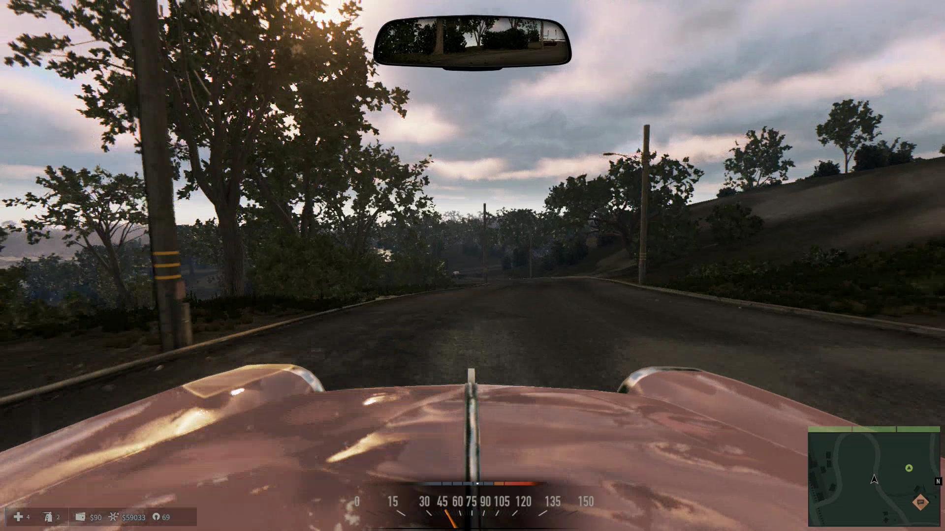 運転中の視点は俯瞰の視点以外にも1人称視点も選択できるので、このドライバー目線の視点が好きな人は切り替えるといいだろう