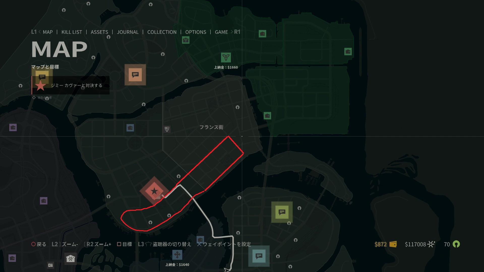 これが今回俺が考えた周回コースだ。赤いラインで引いてみたが、フランス街とダウンタウンの海岸沿いの直線コースを走り、U字ターンを回って反対側は主に路面電車の線路上を走るシンプルな周回コースだ