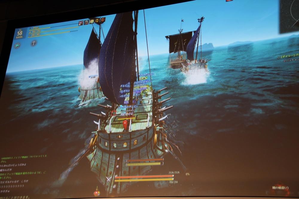 麥谷氏ら登壇者3名が船頭となり、海洋モンスター「キャンディドゥム」討伐に挑戦。動き回る「キャンディドゥム」に対して砲撃を決めるには、特に操舵士の的確な位置取りがすべてを決めるため、操舵士には相応の経験とプレイスキルが求められる印象だった