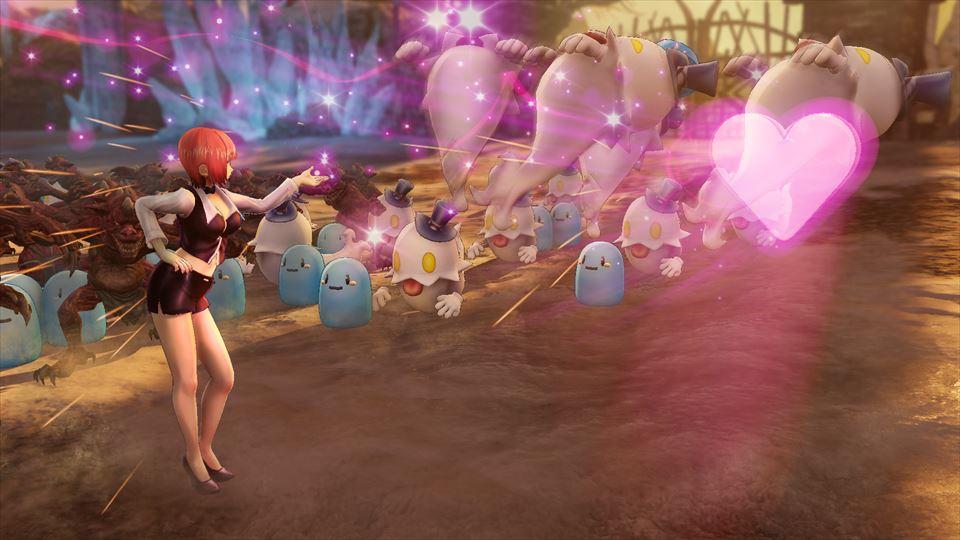 投げキッスで敵を攻撃するリオ。ハートのエフェクトが敵を貫き、当たった敵は大きく吹き飛ぶ