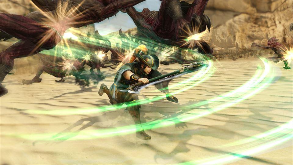 武器を体の前方に構え、猛然と突進する周倉。脚力を生かしての突撃は長距離を移動し、広範囲の敵をまとめて撃破することができる
