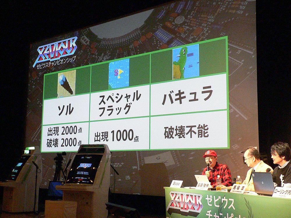 大会開始に先駆け、遠藤氏自らが「ゼビウス」の敵を倒したときの得点について解説