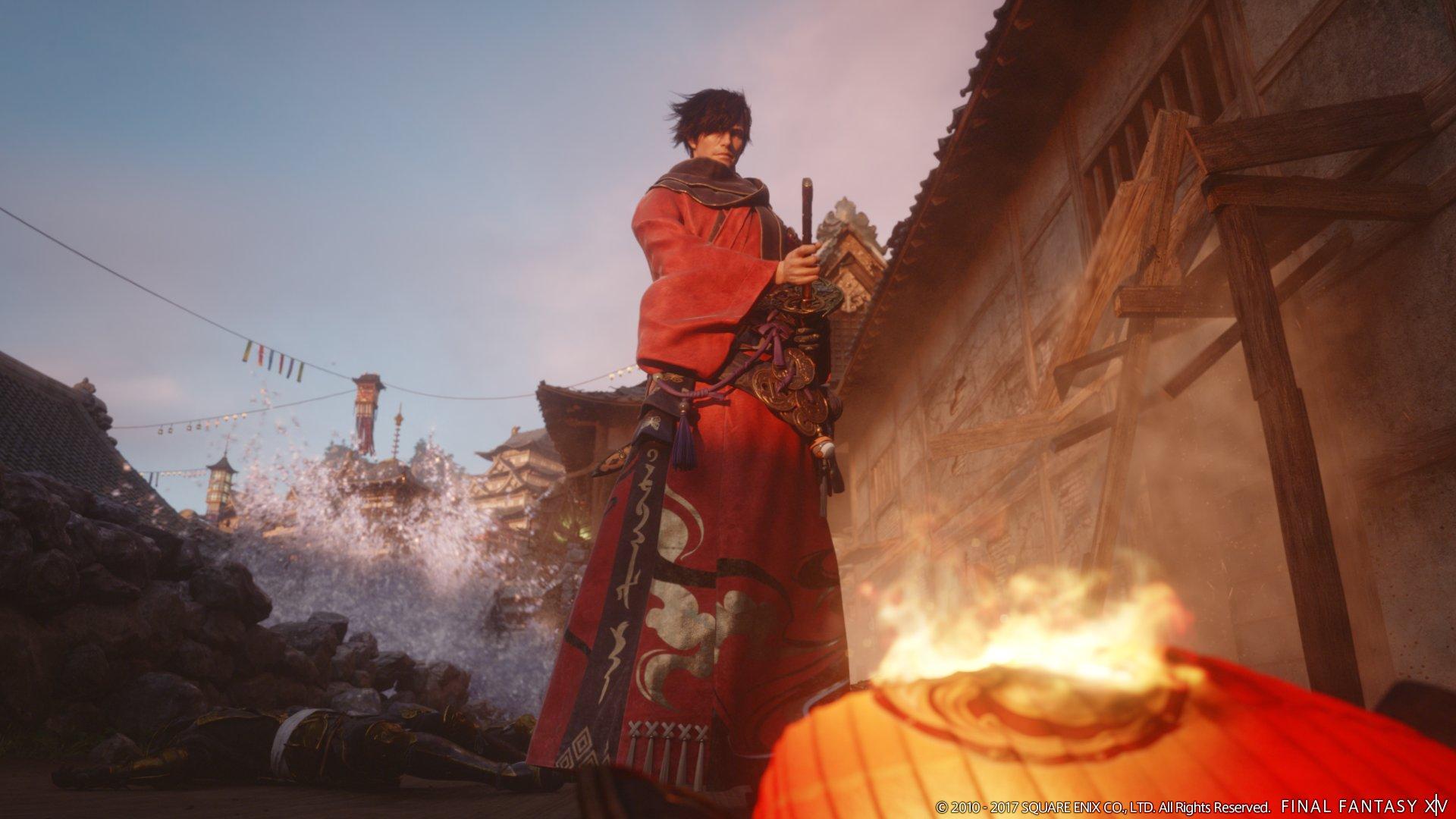侍の格好で登場したプロデューサー兼ディレクターの吉田直樹氏。光の戦士の侍となかなかよく似ている!?