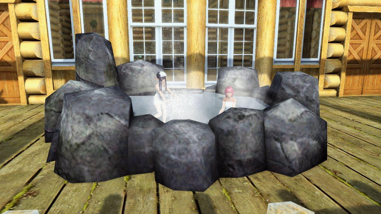 マイルームに設置可能なバスタブ。自然岩に囲まれた暖かなお風呂。心身に癒やしと安らぎを与えてくれる