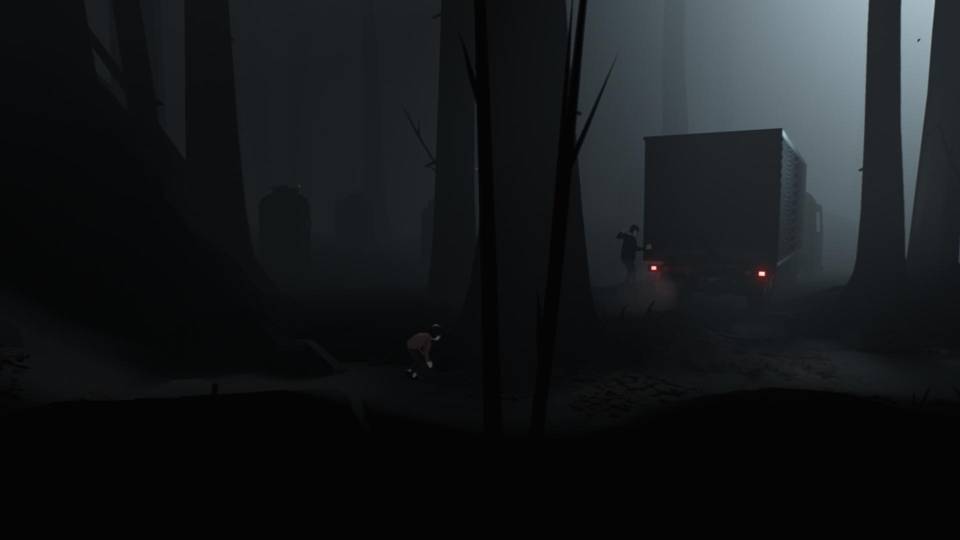 """暗い森を抜けると出会う人。しかし、見つかった瞬間殺されてしまう。「INSIDE」は少年が殺されないように""""トライ&エラー""""を繰り返すアクションアドベンチャーだ"""