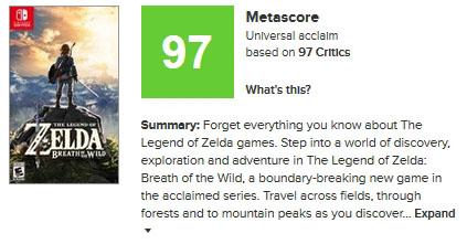 """世界最大手と言っていいレビュー集計サイト「<a href=""""http://www.metacritic.com/"""">Metacritic</a>」のメタスコア。ゲーム部門では「ゼルダの伝説 BotW」、「ペルソナ5」、「NieR:Automata」、「仁王」など、日本のタイトルが軒並み高いスコアでランキング上位に並んでいます"""