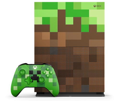 本体、コントローラが「マインクラフト」を思わせるドット絵のブロック模様となっており、作動音などもゲーム内の音を使用している
