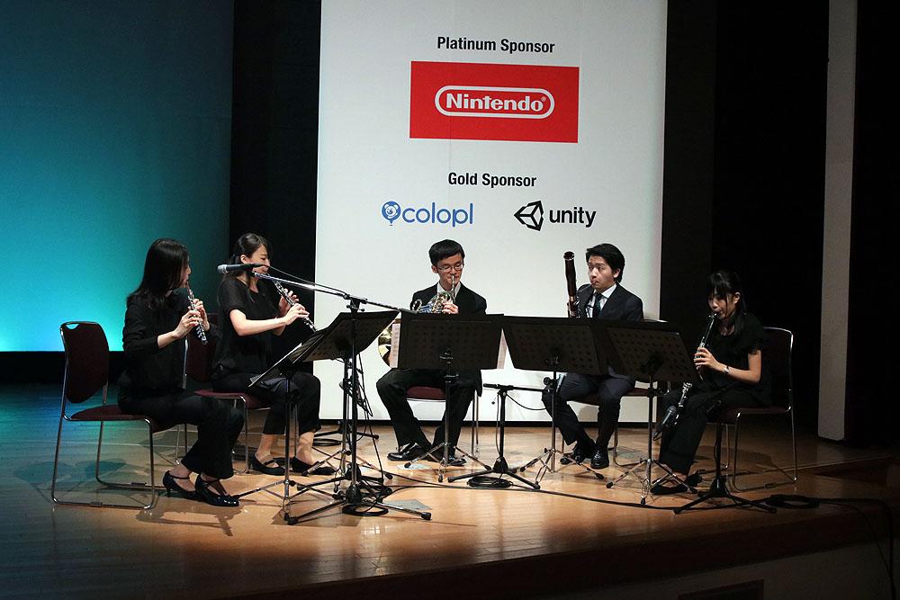 受賞時の音楽はJAGMOスペシャル木管五重奏団が担当した!
