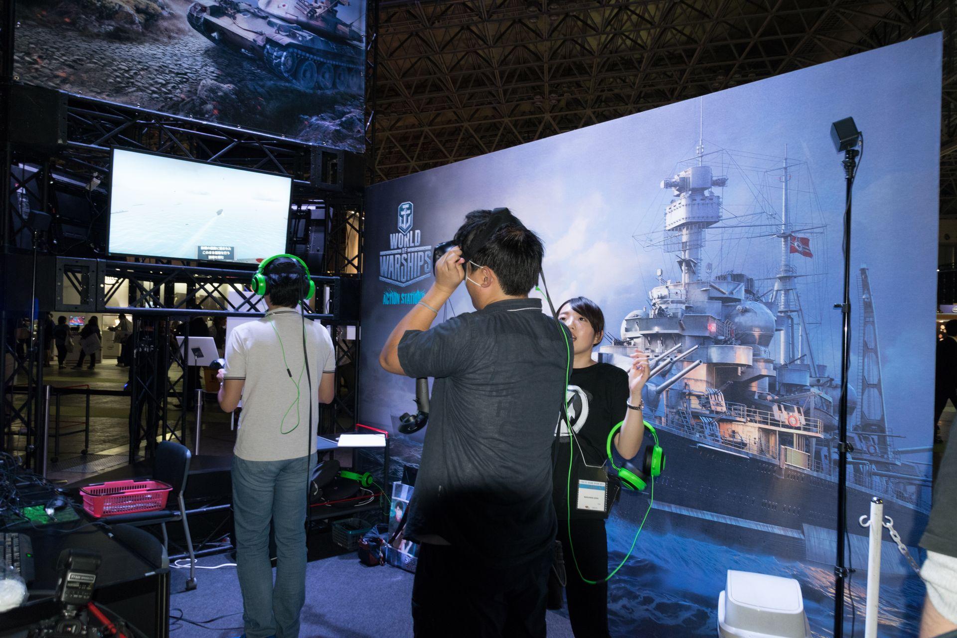VR系にも力を入れているようで、VRTech社と共同で開発中のVRコンテンツ(Cinema VR/Polygon VR)や、World of Warshipsの世界をVRで体験できるブースを展開