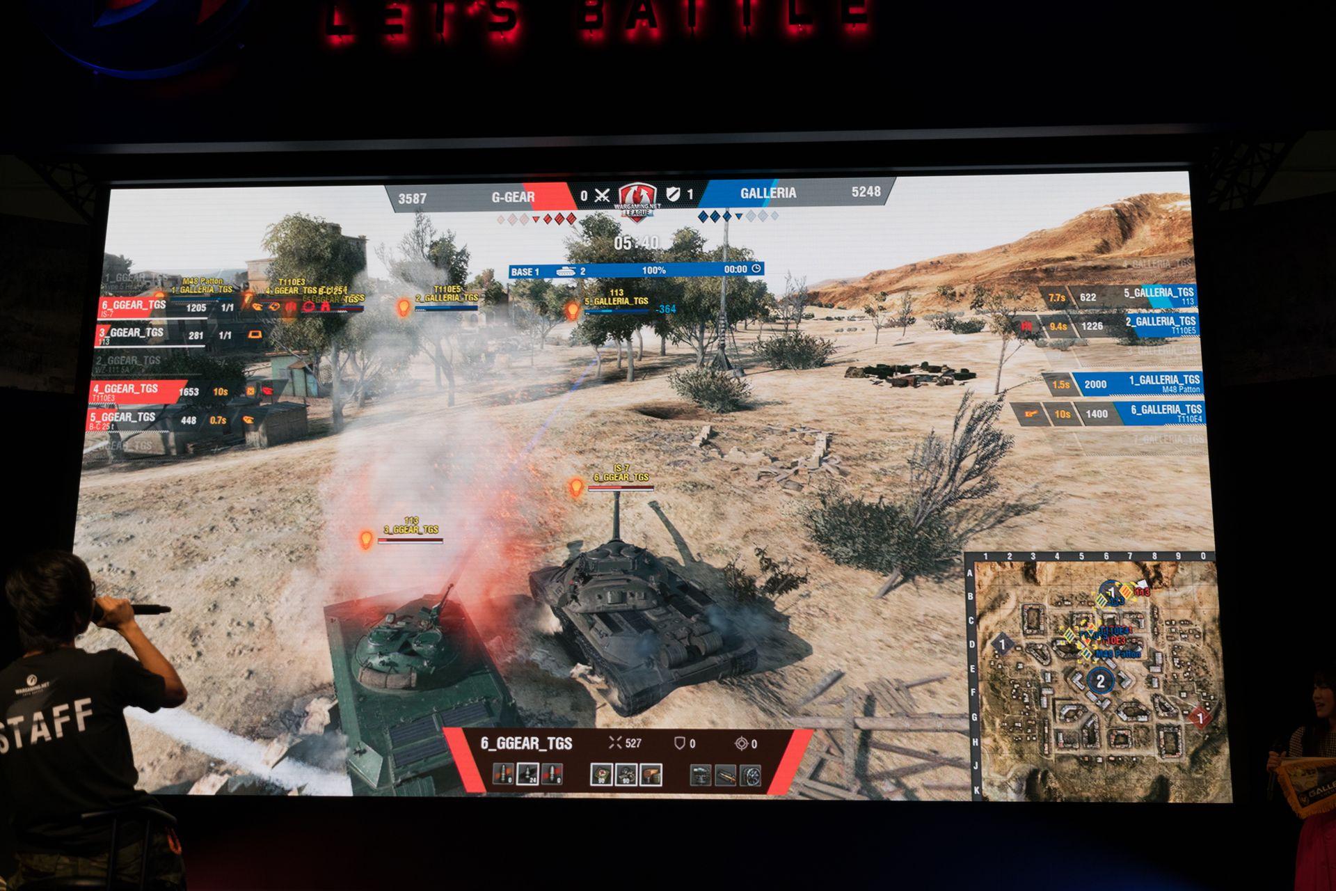 強豪チームの激突だけあって拠点占拠もままならない。赤のG-Gearが拠点を占拠に入っても、命中弾を的確に送り込まれHPも削られる。1勝1敗のままタイブレークへ