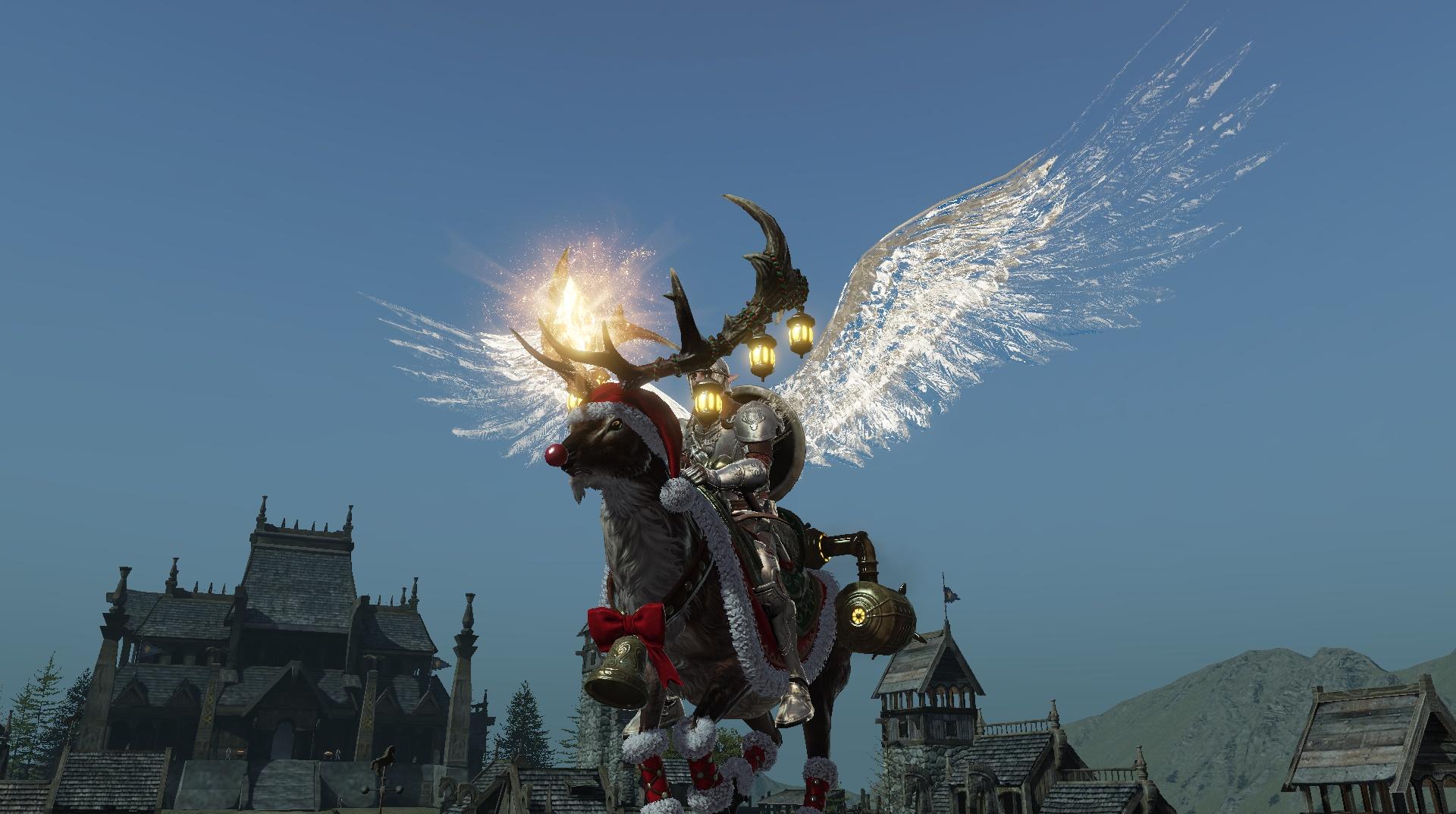 クリスマスイベントでもらえる、期間限定の飛行マウント「[伝説]ル・ドルチェ」