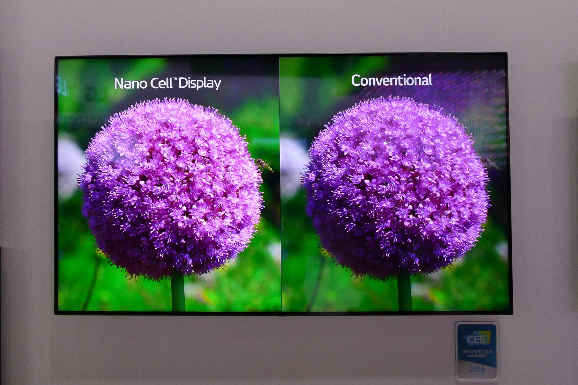 LGのNanocell技術による高輝度化の従来比デモ