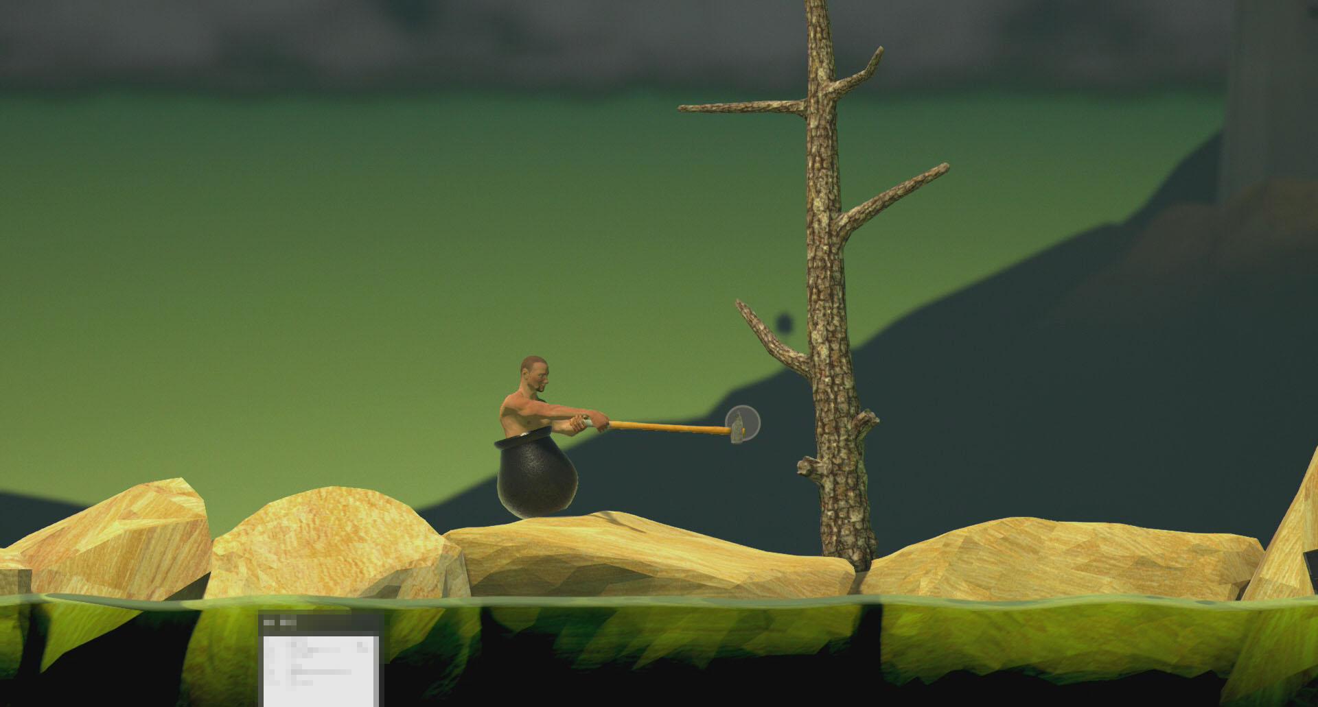 「Getting Over It」は下半身がずっぽりと壺にはまった、ハンマーを持った半裸の男を操作して崖をひたすら登っていくゲーム。操作性にかなり癖があり、筆者は最初の5分間、この最初の障害物の木すら越えられず悪戦苦闘した