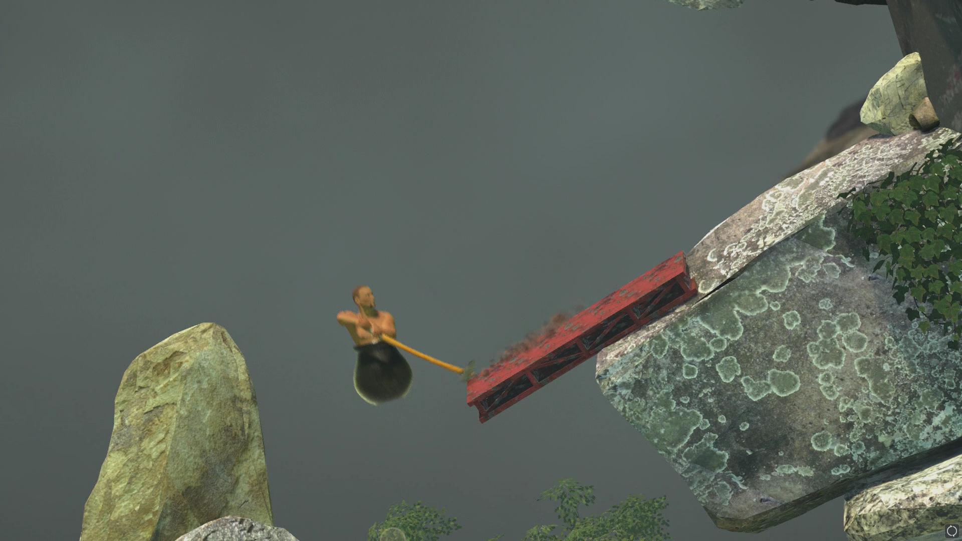 ハンマーで地面を叩きつけてジャンプし、崖の途中のオブジェクトを足掛かりとして、そこにハンマーの先を引っかけて留まる。ここから更にハンマーを回転させて、上へとジャンプしていくのが基本操作だ
