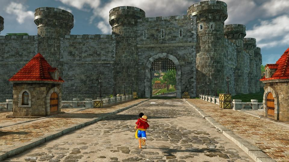 石畳の道の先には巨大な城門が