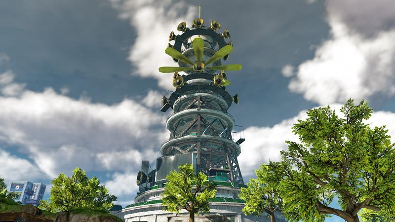 島に立つ巨大な放送塔