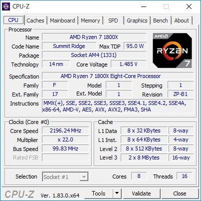 CPUに採用されているAMD Ryzen 7 1800X