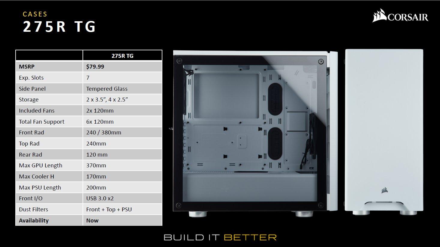 PCケース「275R TG」。日本ではガラスパネルのみの取り扱いで、ブラックは4月下旬から5月上旬発売予定、ホワイトは4月21日発売予定。価格は14,040円(税込)