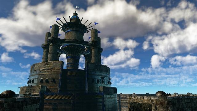 幾重もの壁で覆われた、城塞のような建物
