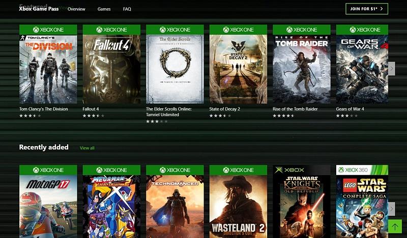 北米での「Xbox Game Pass」のラインナップ