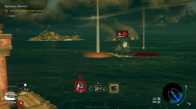 敵船は画面左側に向かって進行中で、相手の進路の先を狙って迫撃砲を撃ったはず……だったのだが船の後ろに着弾寸前。結構な誤差が発生してしまった。着弾まで結構タイムラグがあるので慣れが必要だ