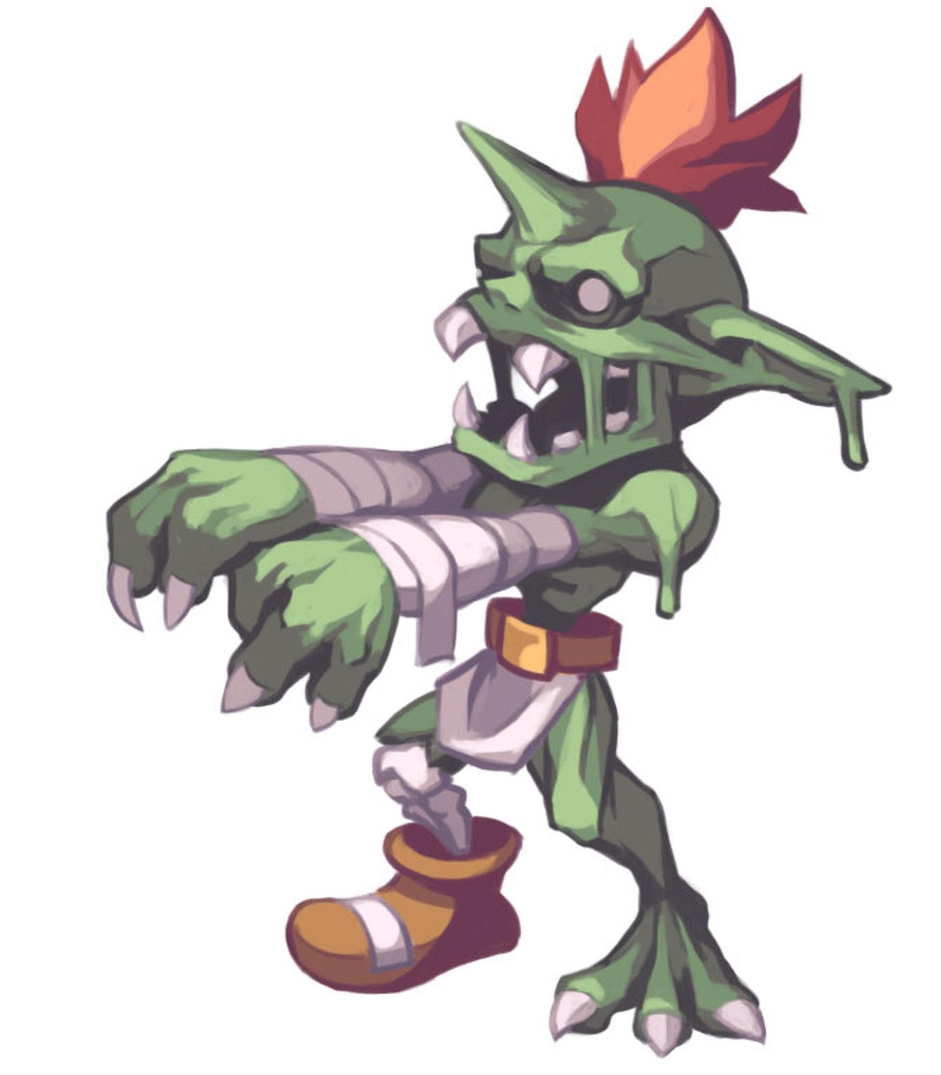 ヒョロヒョロの見た目とは裏腹に、耐久力と攻撃力もなかなかのもの。腕の包帯を砲身に見立ててエネルギー波を出したり、口から体液を出したり、攻撃パターンは数多く持つ