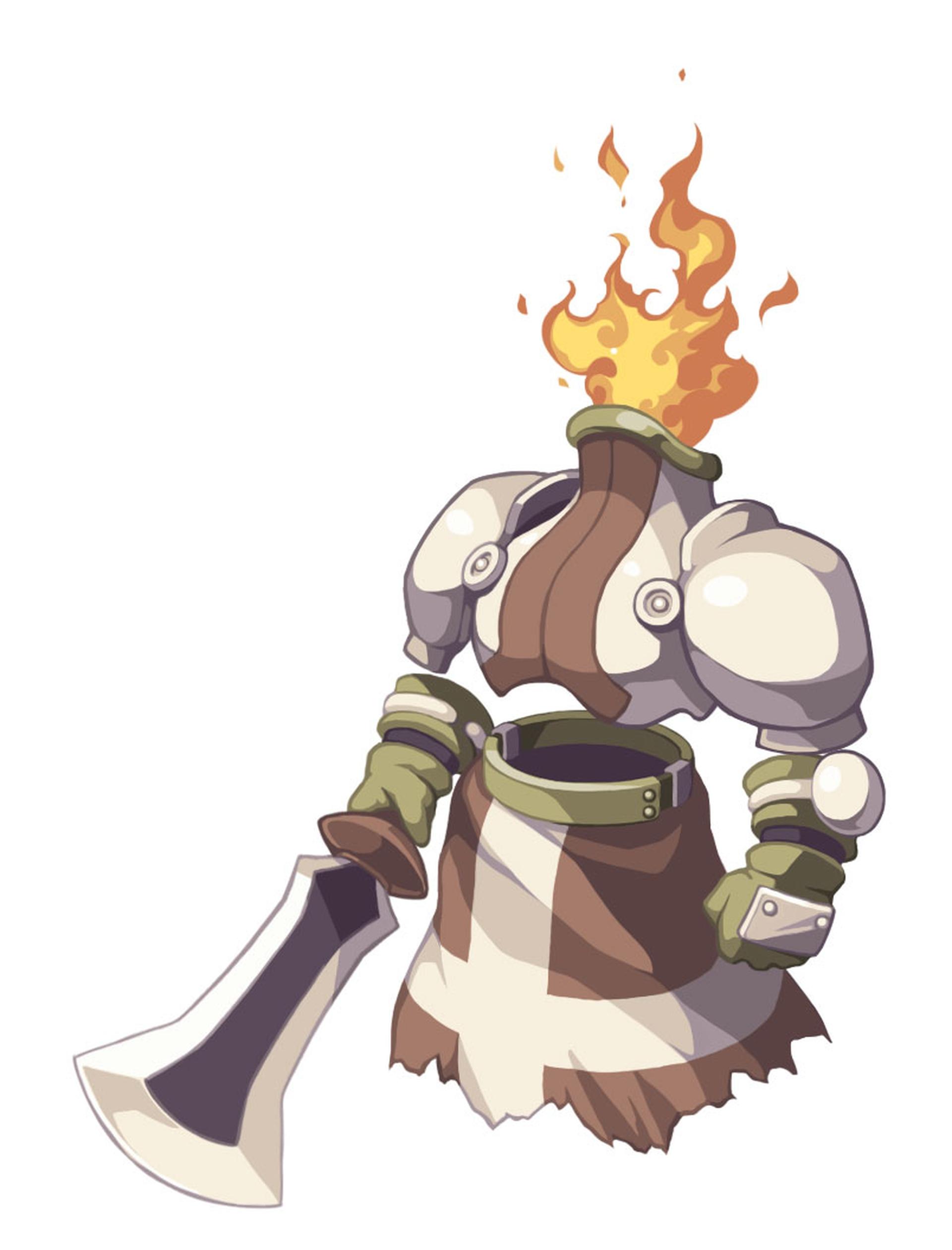攻撃力が高く、接近戦を得意とする。右手に持った剣で敵を地面に叩きつけたり、一撃で「みじん斬り」にしたり、と派手な技が特徴的