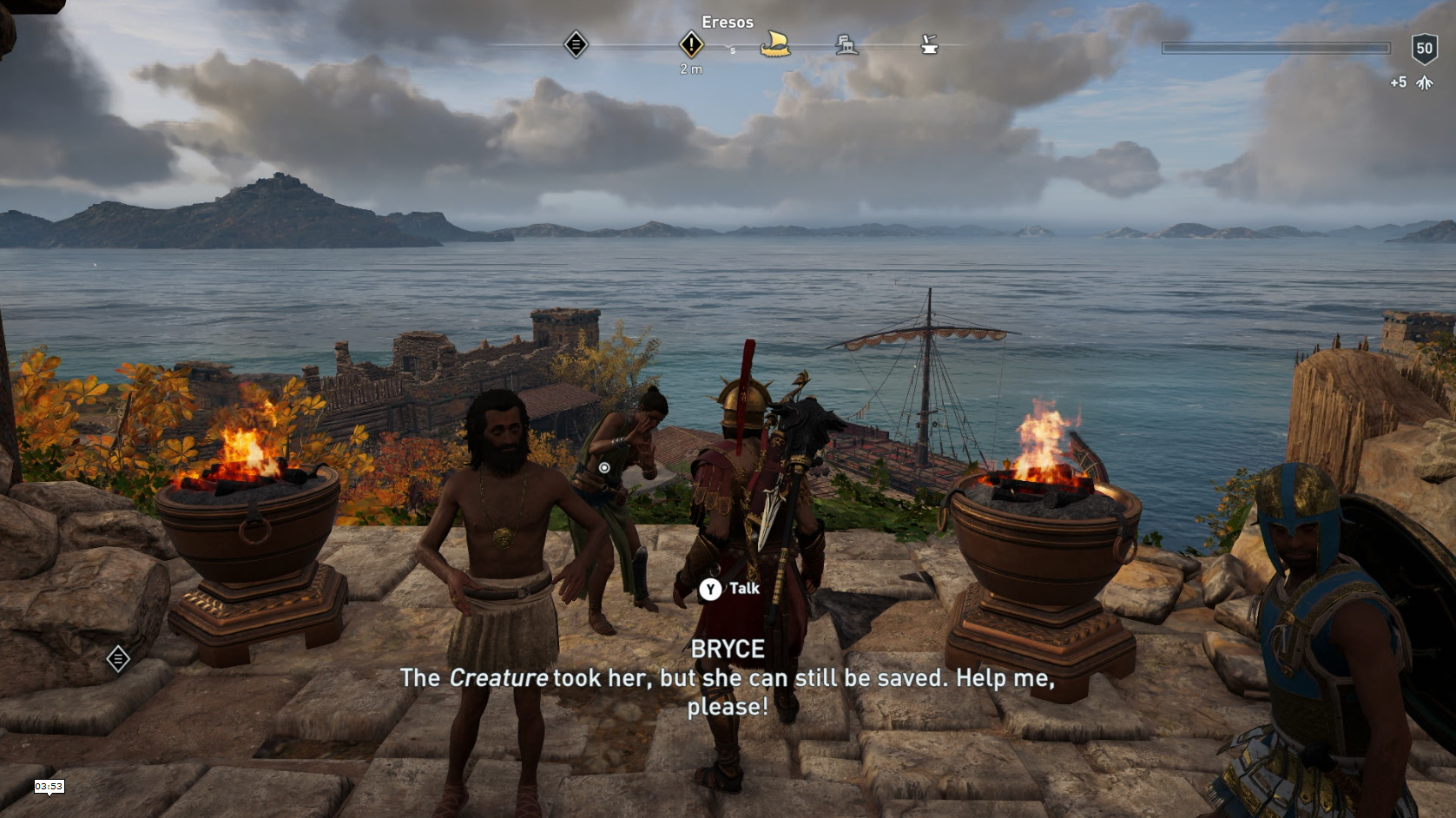 Eresosの街で男たちに責められている女性Bryceを発見