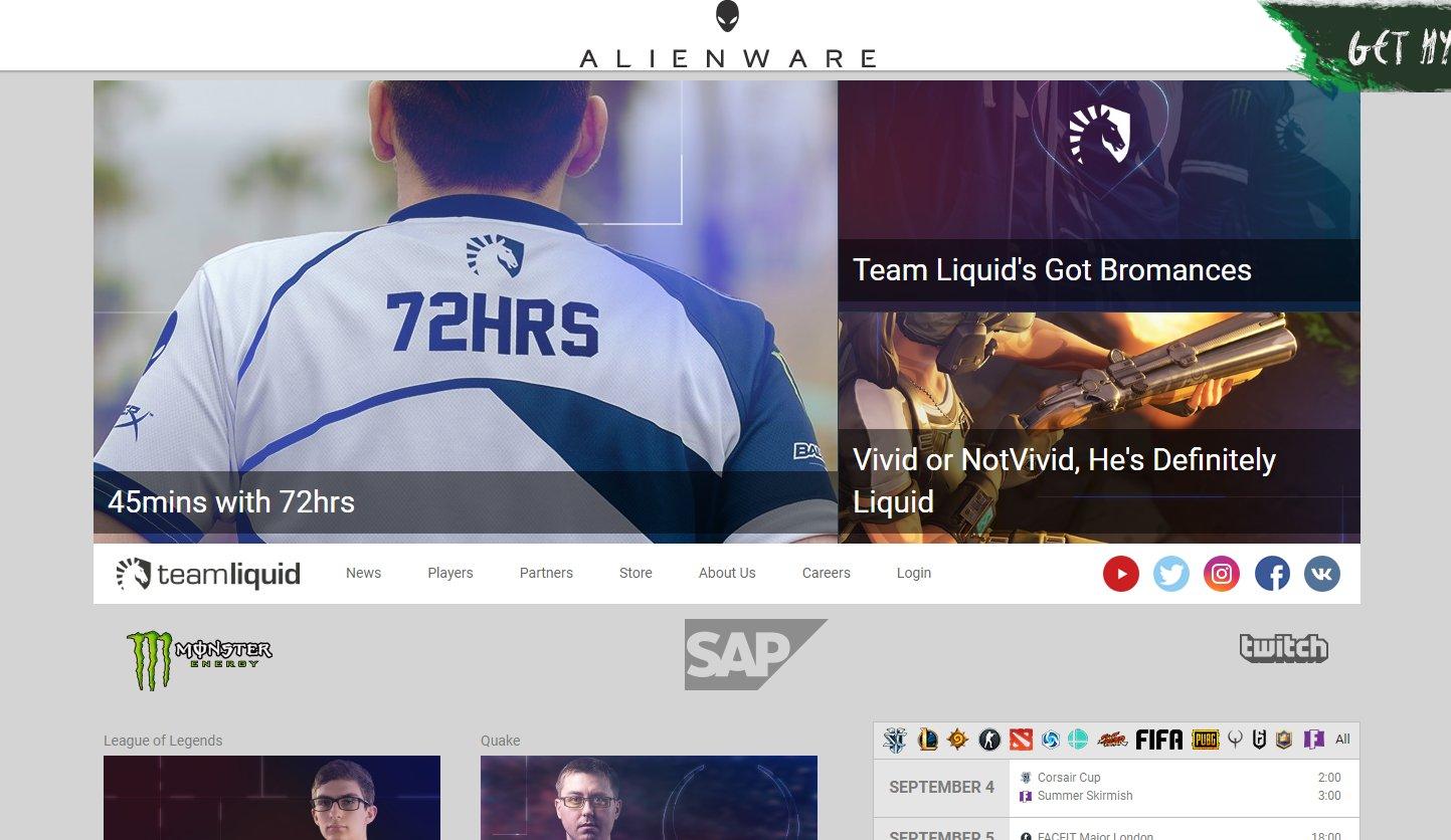 「CS:GO」から「Fortnite」まで主要eスポーツタイトルに選手を送り込む世界を代表するプロチームTeam Liquid。ALIENWAREの数少ないスポンサーチームのひとつだ