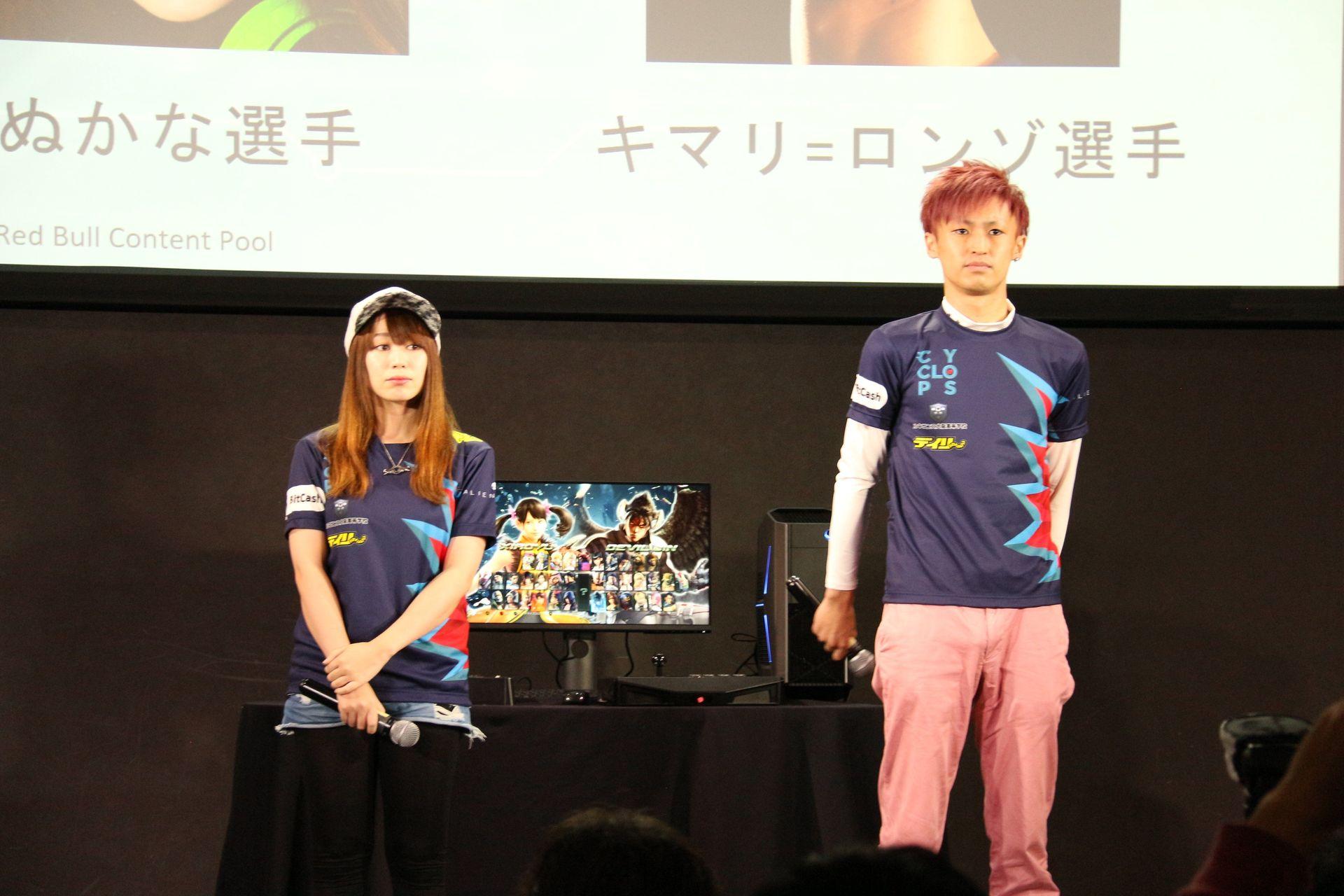 CYCLOPS athlete gamingの参加者。左よりオーナーの伊草雅幸氏、たぬかな選手、キマリ=ロンゾ選手