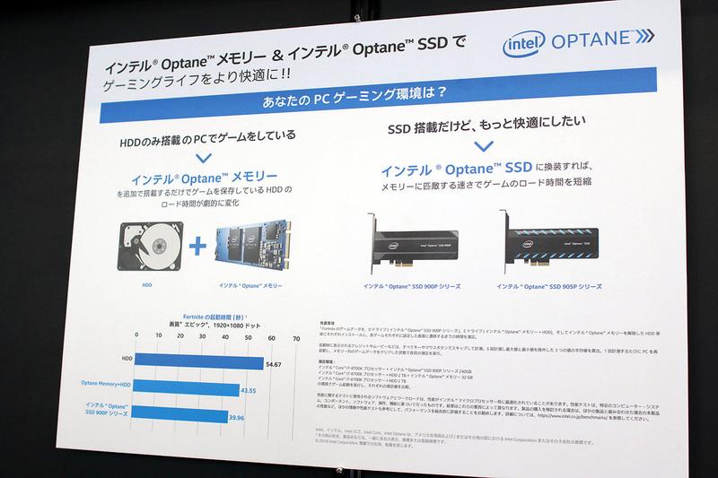 「インテル ソリューション・ゾーン」コーナーにはOptaneメモリーとSSDが出展されている