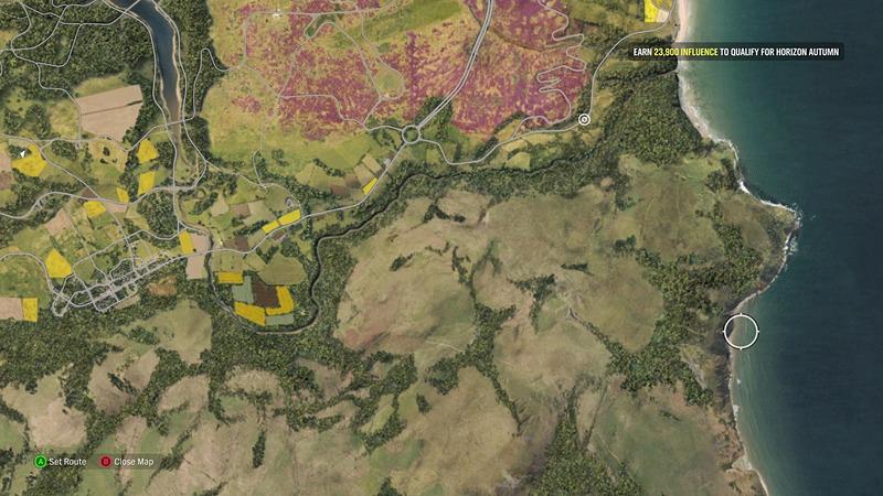 もっとも俯瞰した状態での全体図。北東には最大の都市エディンバラがあり、南東には草原地帯、南西はスタート地点で中央に大きな森がある。そして北西には大きな湖と山岳地帯がある