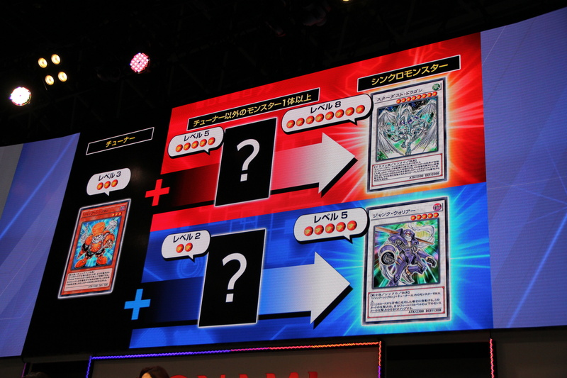 シンクロ召喚についてはスライドでの説明が行なわれた。レベルの足し算なので、誰もがすぐに理解できるだろう