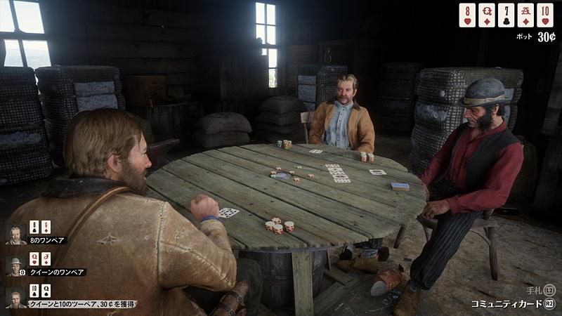 金を巡って争い、カードで賭けをして、キャンプでは肉をナイフに刺して焼いてそのまま食べ。自由で無法に生きる事ができた時代と、それができなくなってきた時代。楽しいことも、やるせないことも、哀愁たっぷりに全部が詰め込まれている、「RDR2」という名の巨大な塊